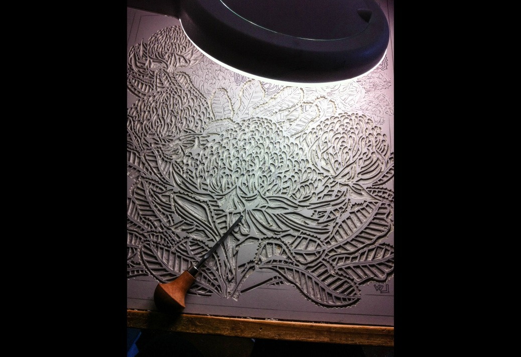 ART BYTES Waratah Tryptich - Carving Central Panel 4