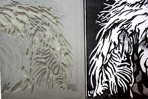 Carving a new linocut