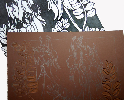 Linocuts…in the studio today…