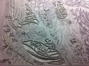 12 Blue Mtns Wildflowers CARVING Linoblock Detail 11