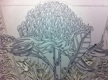 17 Blue Mtns Wildflowers CARVING Linoblock Detail 4