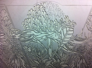 23 Blue Mtns Wildflowers CARVING Linoblock Detail 9