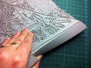 Cutting back edges of linoblock 1
