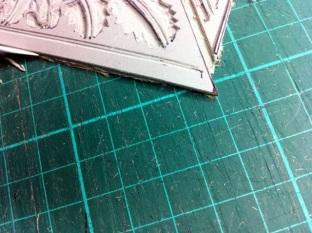 Cleaning back edges of linoblock 3