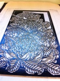 Waratah tryptich - Printing the Linoblocks