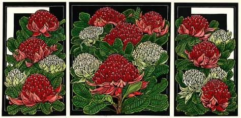 8 Waratah Tryptich - Limited Edition Handcoloured Linocut 1