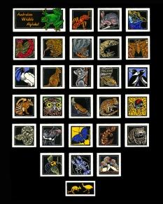 Australian Wildlife Alphabet - http://lynetteweir.com/linocut-australian-linocut-artist/australian-wildflower-alphabet-limited-edition-linocut-series/